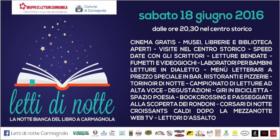 Letti di notte 18 Giugno 2016 – Carmagnola